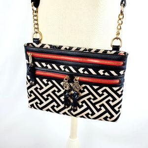 Spartina 449 Linen Cross Body Handbag Geo Pattern